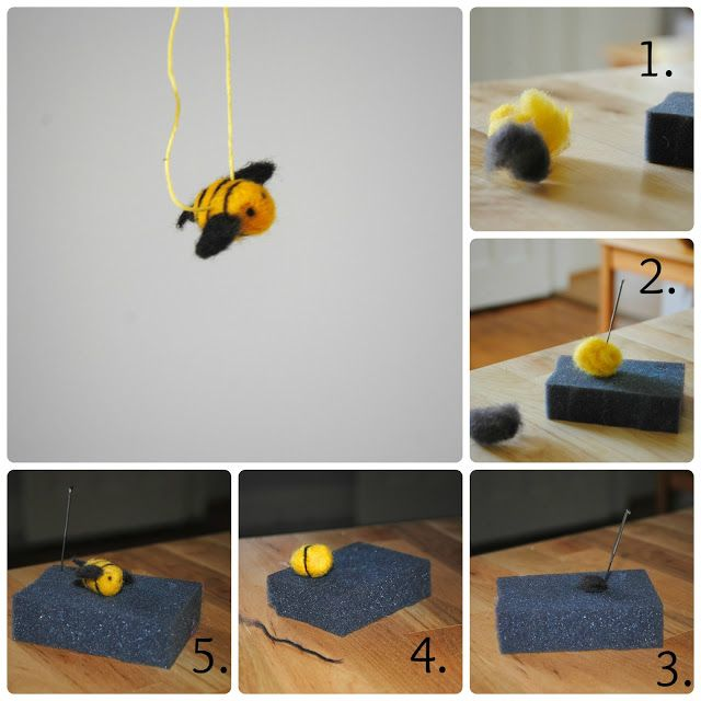with love: needle-felted bumblebee tutorial