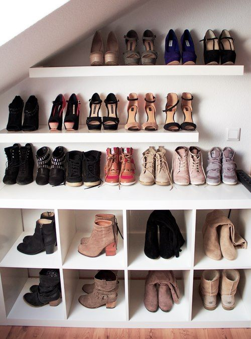 Good idea for dealing with a slanted roof (like in MY closet).