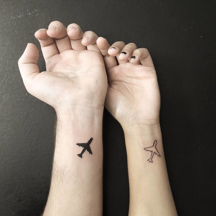 128 Travel Tattoo Ideas That Will Make You Want To Pack Your Bags Asap Matching Couple Tattoos Couples Tattoo Designs Airplane Tattoos