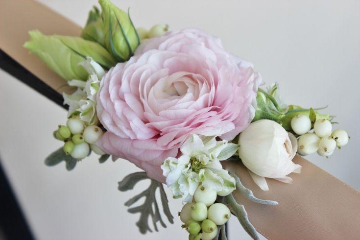 modern wrist corsage ribbon modern design ranunculus blush ...