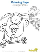 Silly monster on a scooter coloring page