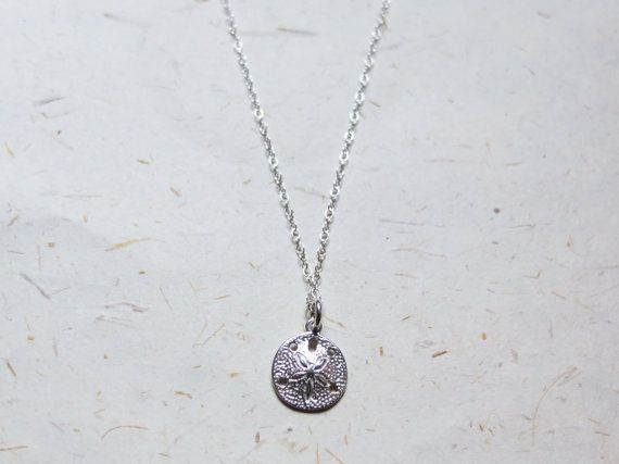 FREE SHIPPING Sterling silver Sand dollar charm Necklace  OakbyLF on Etsy