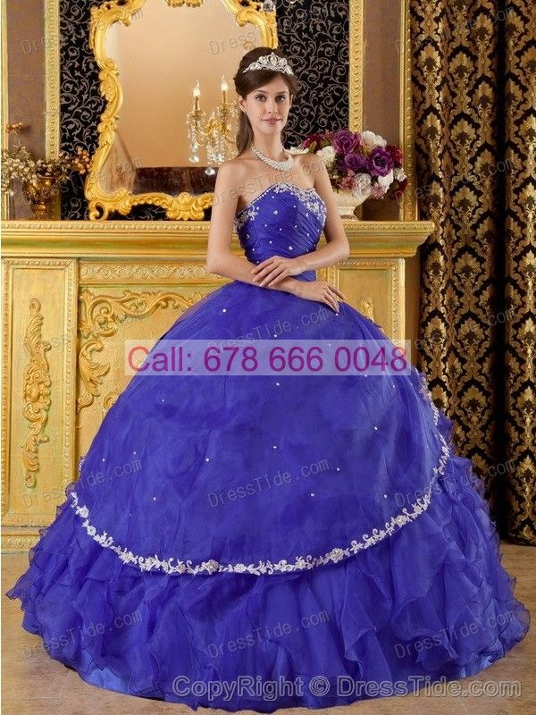 Appliqued Hem and Ruffles on Blue Quinces Dress with Blue-violet Sweetheart - Quinceanera Dresses 2015 - Quinceanera Dresses