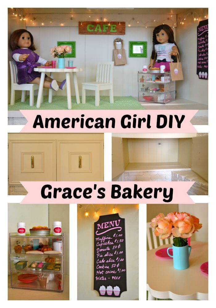 Turn an unused cabinet into a bakery or another room for your favorite American Girl dolls.