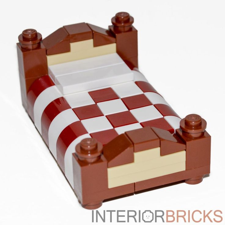 LEGO Furniture: Full Size Bed - Red & White Bedding [custom set,house,minifig] #LEGO