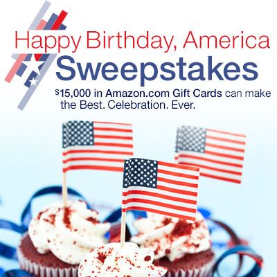 Happy Birthday, America Sweepstakes! Enter Amazon's Happy Birthday, America Sweepstakes on Facebook and you could win up to $15,000 in Amazon Gift Cards!