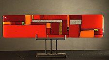 "Windows Red - Horizontal by Vicky Kokolski and Meg Branzetti (Art Glass Sculpture) (9"" x 23"")"