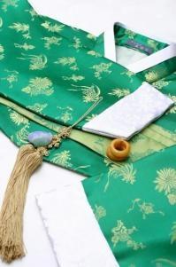 한복 Hanbok / Green jeogori and beautiful hanbok accessories / Traditional Korean dress by