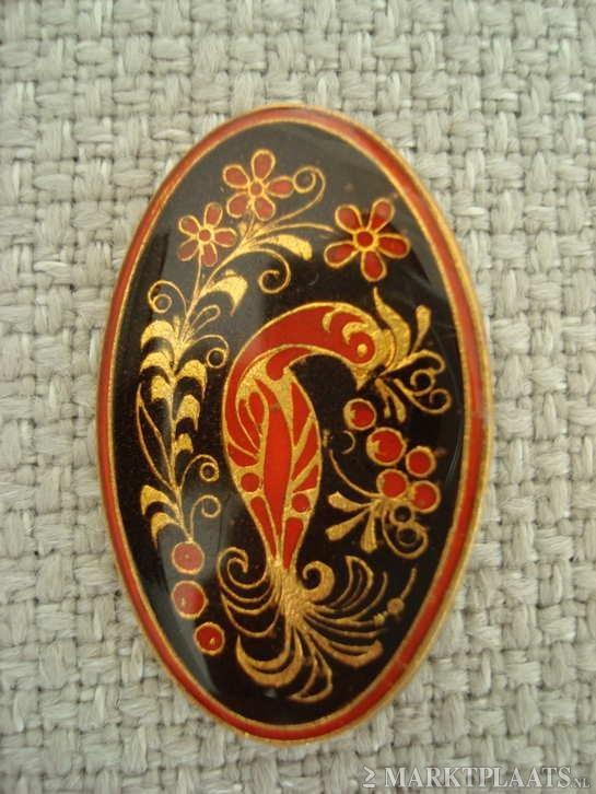 Marktplaats.nl > jwg ... Art Deco 60's broche Pauw emaille rood zwart - Sieraden, Tassen en Uiterlijk - Antieke sieraden