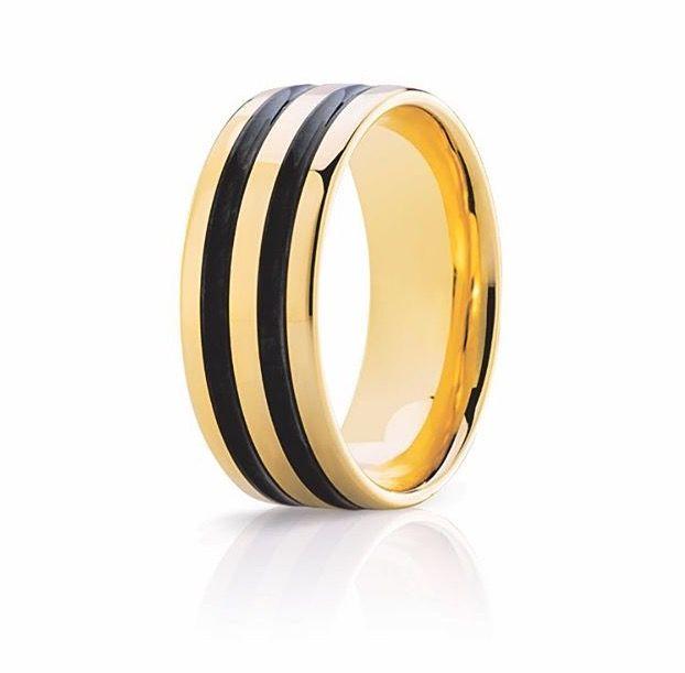 Mens Yellow gold and black ceramic ring