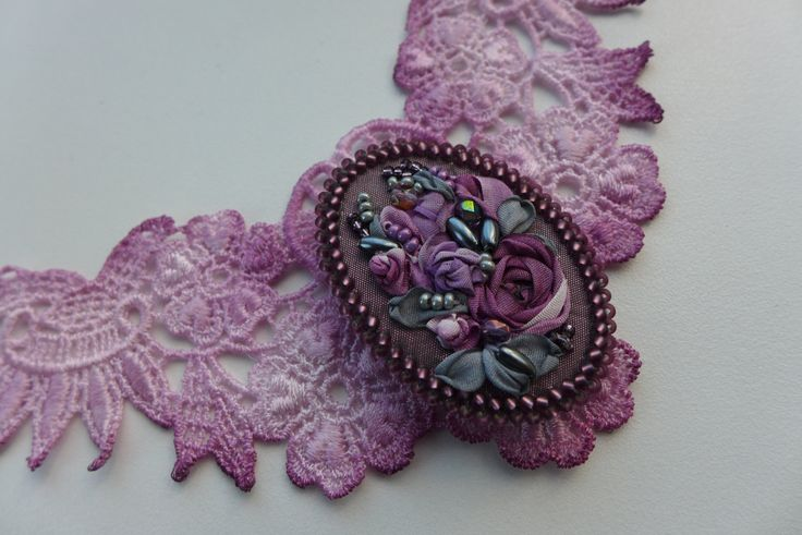 """Purple grey vintage inspired victorian style lace necklace and floral cameo brooch- pendant with silk ribbon embroidery """"Mysterious purple"""" by Virvi on Etsy"""