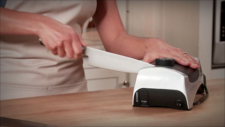 KitchenIQ 50353 Angle Adjust Adjustable Electric Knife Sharpener for kitchen knives. It provides correct sharpening angle to match that created originally by the knife manufacturer. It sharpens both sides of the knife at the same time without damaging the knife. It is fast and efficient.