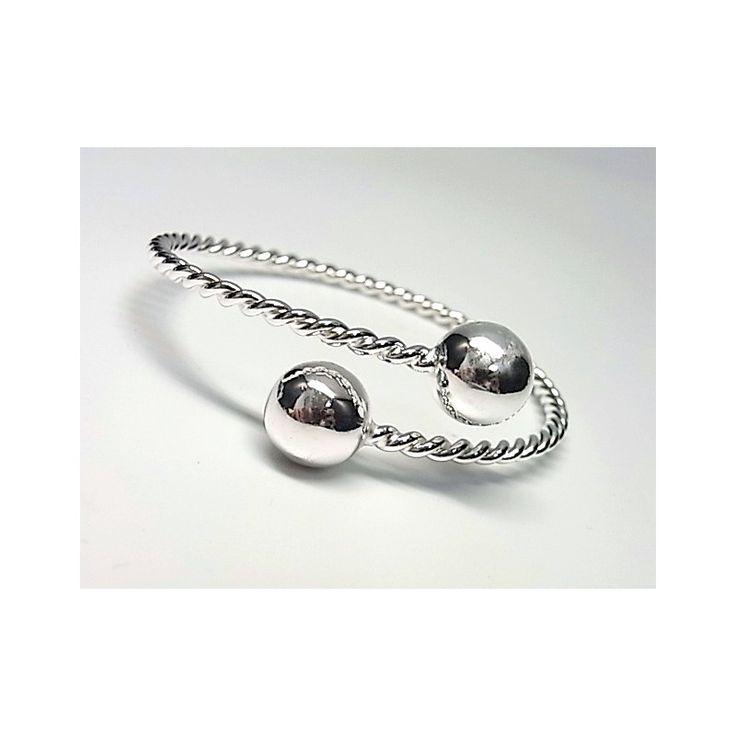 Pulsera de plata de primera ley lisa estilo brazalete tonisa con dos bolas