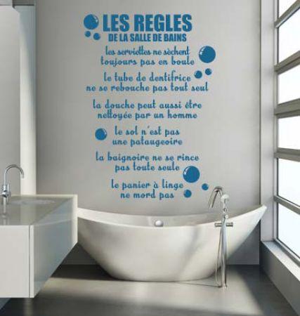 Les 28 meilleures images du tableau stickers textes for Citation salle de bain