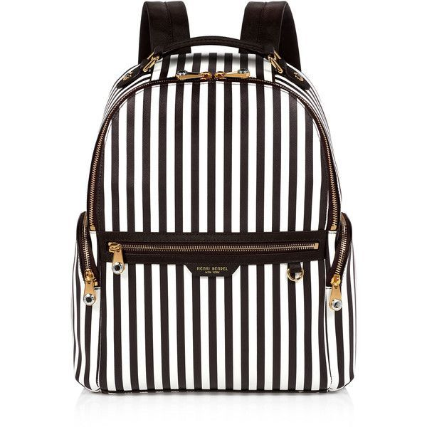 Henri Bendel West 57th Centennial Stripe Travel Backpack featuring polyvore, women's fashion, bags, backpacks, laptop rucksack, travel bag, white backpack, backpack travel bag and striped backpack