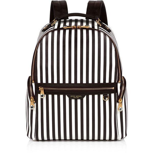 Henri Bendel West 57th Centennial Stripe Travel Backpack (£330) ❤ liked on Polyvore featuring bags, backpacks, backpack, accessories, handbags, bolsas, stripe backpack, laptop backpack, travel backpack and travel rucksack