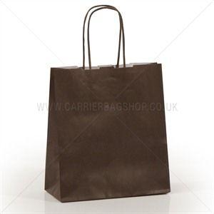 Premium Papiertragetaschen mit Kordelgriffen schokoladenbraun