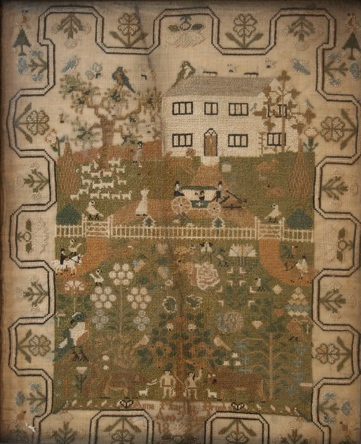 19th Century needlework sampler, worked by 'Anna Martha Brooks, Aged 7 years, 1827': Country Houses, 7 Years Old, Age, 19Th Century, A Needlework, Needlework Sampler, Anna Martha, 1827, Century Needlework