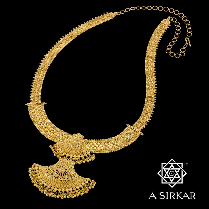 Tilottama:  A handmade 22K rich yellow gold long necklace put together using elements from some of our key designs but unique in its detailing. Tilottama : that paragon of beauty who could even unfocus the Gods with her rare, radiant pulchritude and who for us is a glowing emblem of woman power.