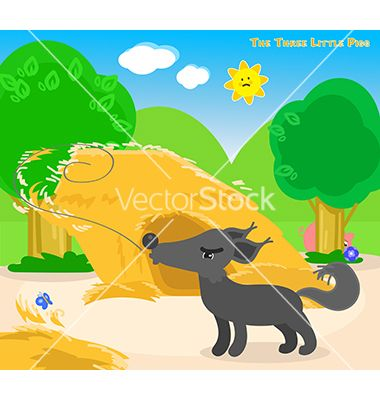Three little pigs 4 the big bad wolf vector