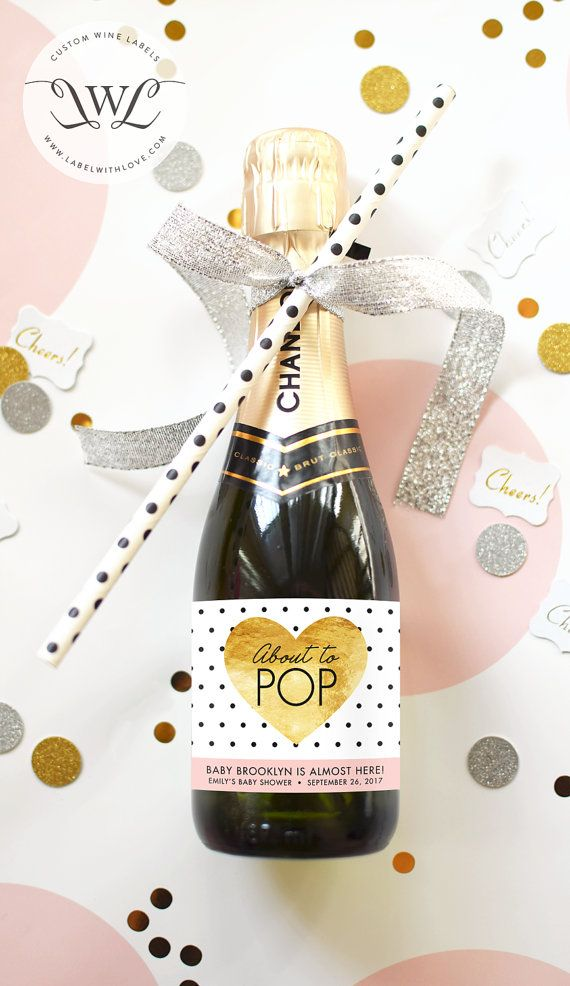 About To Pop Baby Shower Mini Champagne Bottle Labels   Faux Gold Foil  Weatherproof Ready To Pop Baby Sprinkle Baby Shower Favor Decoration