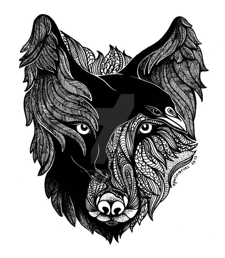 Wolf Raven by Apolinarias.deviantart.com on @DeviantArt                                                                                                                                                                                 More