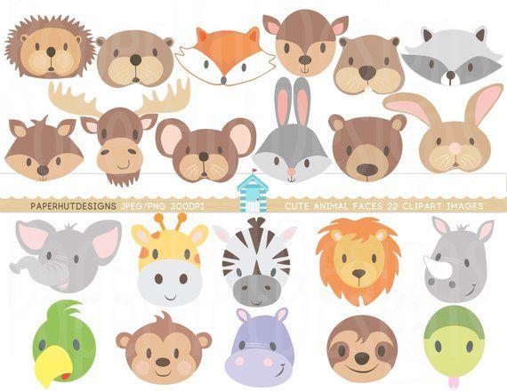 Wild Animal Faces Clipart Jungle Animals Clip Art Zoo Animal Etsy Animal Faces Woodland Animals Animal Clipart