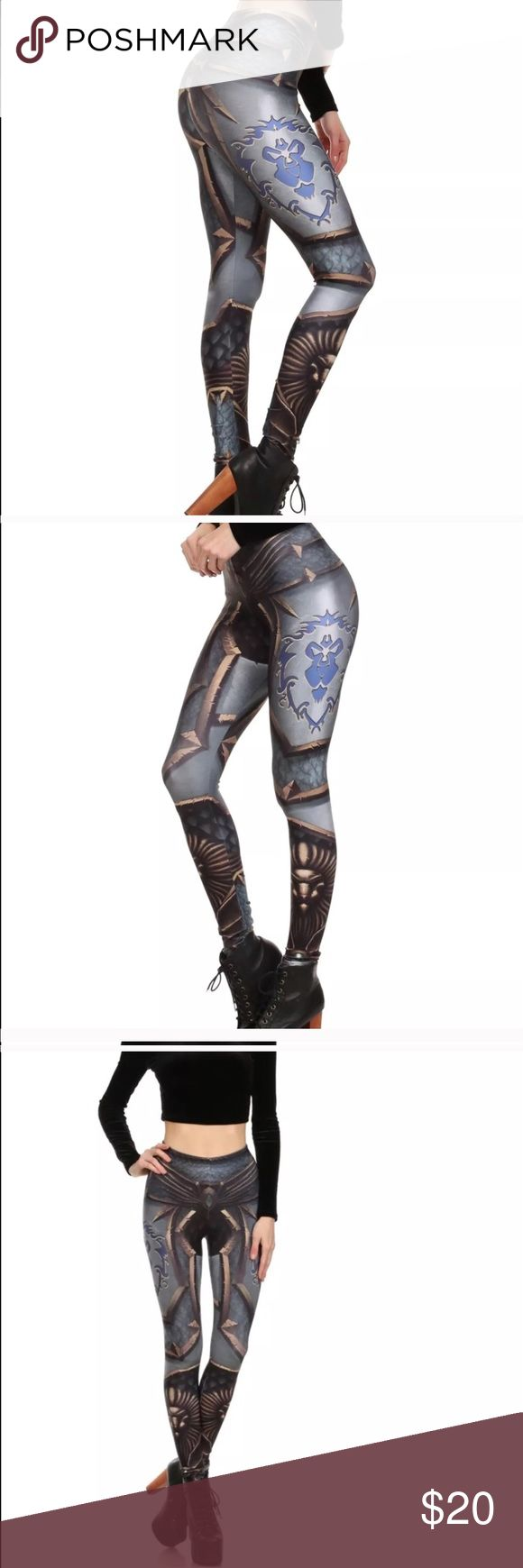 """World of Warcraft Alliance armor leggings 3D print Brand new leggings Sz xs-s  Price firm  Waist laying flat: 11 1/2"""" unstretched and can be stretched up to 18"""" laying flat  Ankle leggings 88% polyester  12% spandex no brand Pants Leggings"""