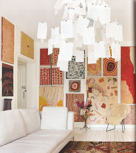 Aboriginal art, paper chandelier, fantastic.