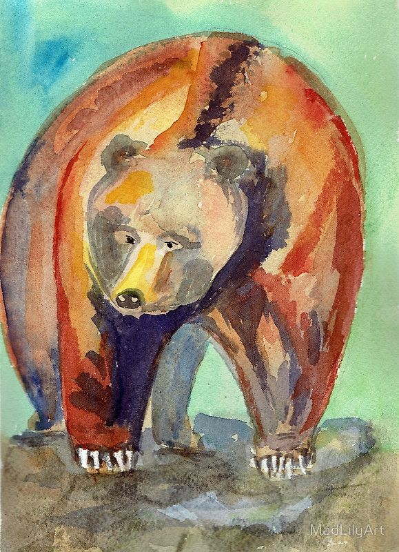 While it's exciting to spot bears in the wild, it is much easier to paint them at the zoo.  Things like walls and moats give you time to sketch and draw without fearing you'll lose your sandwich or an arm. / The original Hello Grizzly Adams is watercolor on 140 pound Arches Cold Press watercolor paper. • Buy this artwork on apparel, phone cases, home decor, and more.