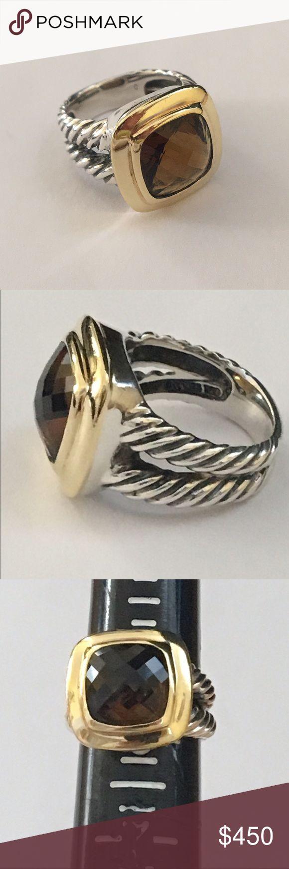david yurman sterling 18k gold smoky quartz ring 11mm split shank albion collection ring from david