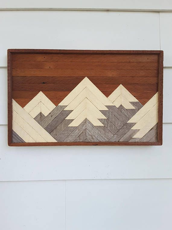 Wood Wall Art Wall Decor 5 Peaks Mountain Range Lath Art Kewl