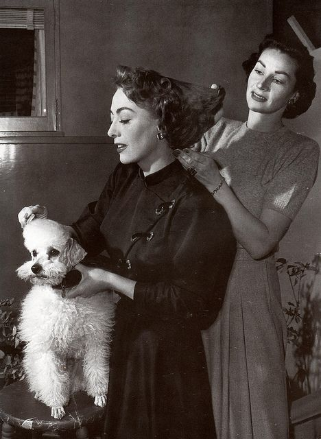 Joan Crawford and her poodle, Cliquot, 1950