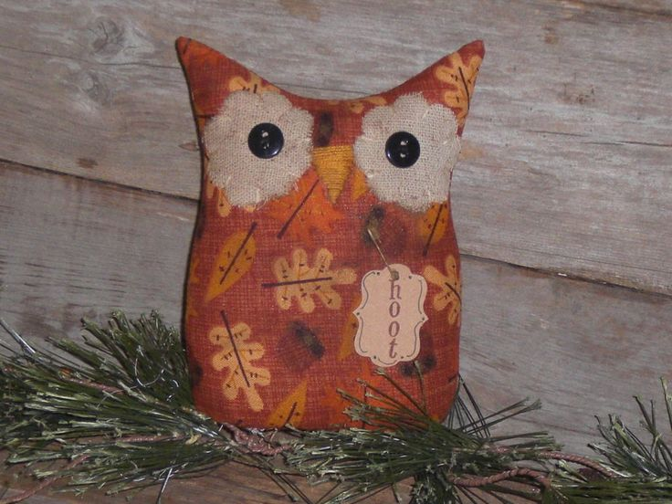 Primitive Fall Season Halloween Orange Hoot Owl Bowl Filler Ornament Ornie Tuck #Handmade
