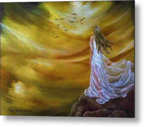 Metal Print, Painting, ,fantasy,scene,sky,clouds,girl,woman,feminine,female,long,hair,dress,rock,figure,psychedelic,picturesque,whimsical,vibrant,vivid,colorful,orange,golden,impressive,cool,beautiful,powerful,atmospheric,celestial,mystical,dreamy,contemporary,imagination,surreal,figurative,modern,fine,oil,wall,art,images,home,office,decor,artwork,modern,items,ideas,for sale,fine art america,Step Into Infinity
