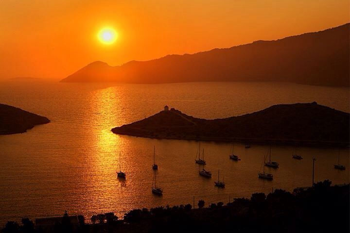 Sunset over Panametis Symi Greece