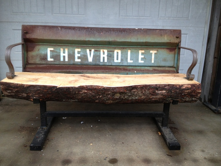 Chevy truck tailgate bench. Made from my wife's fathers old truck.