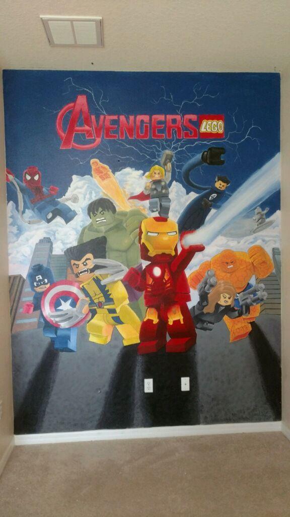 My 5 year old sons room Lego Avengers wall mural. #paint #art #marvel #lego #avengers #kidsroom #boys #decor #ironman #captainamerica #hulk #wolverine #spiderman #thor