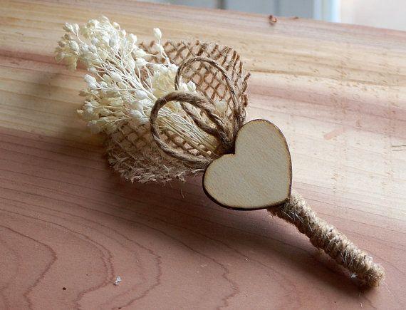 Rustieke bruiloft corsages met hart en Baby van door BigRiverCrafts