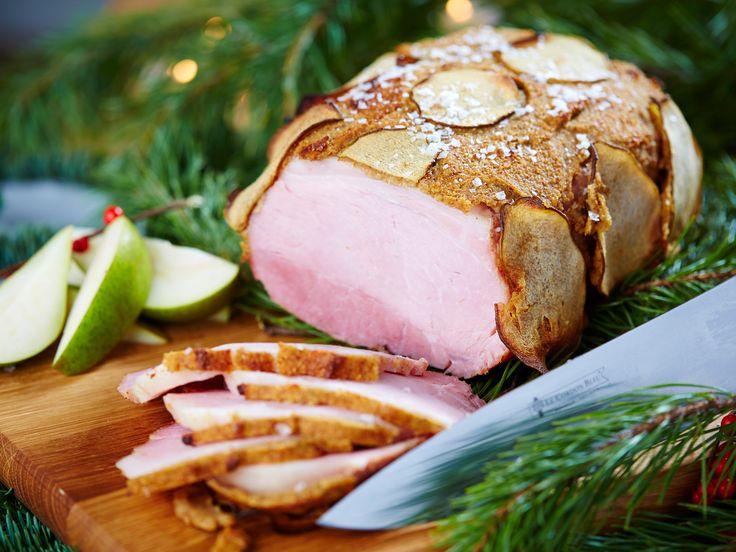 Julskinka med päron och rostade fänkålsfrön | Recept.nu