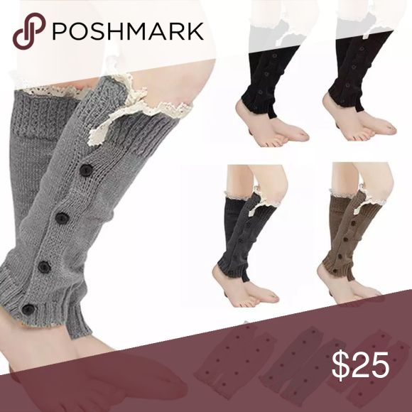 Knitted Button Lace Leg Warmers Trim Boot Socks 100% Brand New And High quality  Material: Acrylic  8 colors to choose :  Dark Gray, Pink, Black, Light Gray, White, Coffee, Khaki and Lake Blue  Length:32.5cm Width: 9.5cm     Package Includes 1 pair of leg warmers Winter Apparel Accessories Hosiery & Socks