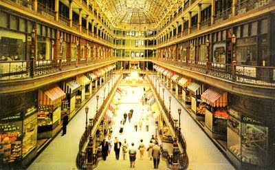 Built in 1890 and designed by Stephen V. Harkness, the Arcade in Cleveland was one of the country's first enclosed malls--and like Southdale, modeled on the Galleria Vittorio Emanuele II. This image dates from the 1960s.