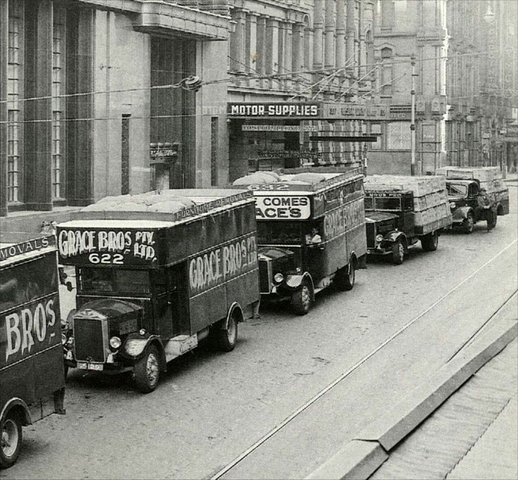 Grace Bros vans in Sydney (year unknown).