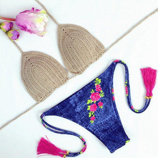 Vintage Floral Print Denim Halter Crochet Bikini Set For Women #men, #hats, #watches, #belts, #fashion, #style