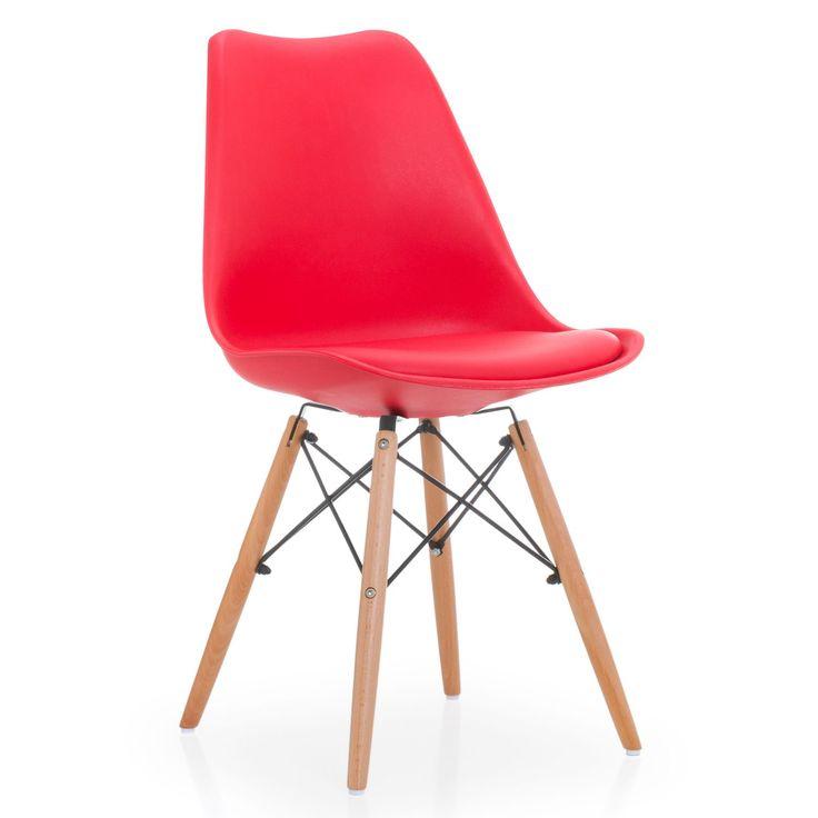 Inspiriert von den Designs von Charles & Ray Eames.     Rückenlehne aus Polypropylen.     Sitz mit Kissen mit Kunstlederbezug.     Beine aus Naturbuchenholz.     Er hält einem Maximalgewicht von 150 kg stand.     10 verschiedene Farben erhältlich.  Der Stuhl WOODEN CUSHY präsentiert ein modernes und aktuelles Design, ideal, um einen Touch einzigartiger Eleganz in Ihr Ess- oder Wohnzimmer zu bringen. Die Form der Rückenlehne nimmt den Körper des Nutzers perfekt auf und ermöglicht es,...
