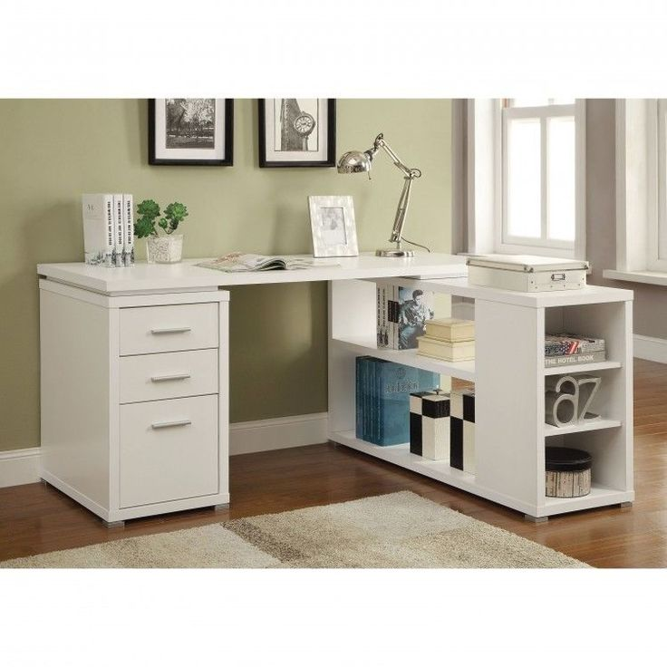 Modern Computer Desk Reversible Storage Office Organizer Drawers Indoors White #White #Modern