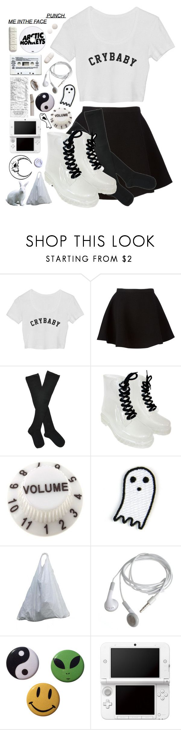 """they call u crybaby but u dnt fuuckin care"" by aaliviaa ❤ liked on Polyvore featuring Neil Barrett, Fogal, Mokuyobi Threads, Nintendo and Guide London"