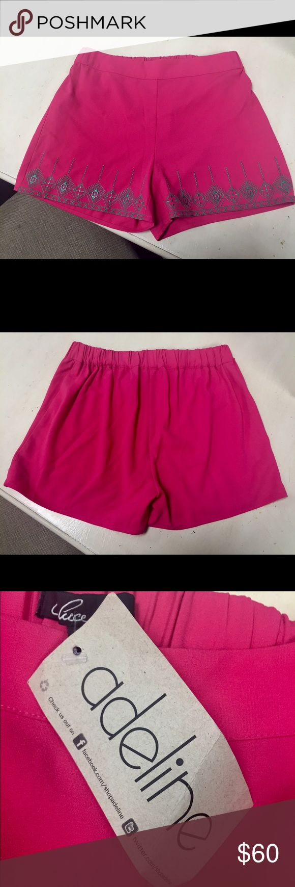 Adeline Pink Tribal Print Shorts Hot pink shorts with green embroidered tribal print! Super cute and can be dressed up or down, great for an afternoon out or brunch with friends! From a cute boutique in Texas, no longer regularly sold!  Smoke-free, pet-free home' Adeline Shorts