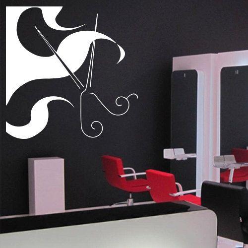Wall decal decor decals art hair hairdryer salon scissors barber curl beauty master stylist girl woman
