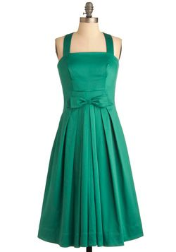 Pleased to See You Dress in Green  - ModCloth: Style, Bridesmaid Dresses, Hue Dress, Color, Modcloth, Green Dress, Vintage Dress, Teal Dress